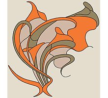 Butterfly swirl, modern art nouveau orange grey Photographic Print