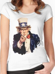 Uncle sam i want you watercolor Women's Fitted Scoop T-Shirt
