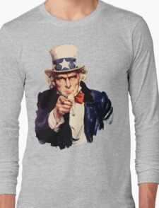 Uncle sam i want you watercolor Long Sleeve T-Shirt