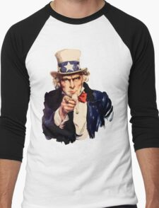 Uncle sam i want you watercolor Men's Baseball ¾ T-Shirt
