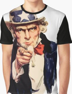 Uncle sam i want you watercolor Graphic T-Shirt