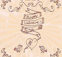 Hand drawn vintage Happy Valentine's Day background. by TrishaMcmillan