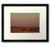 Rural Iowa and Full Moon Framed Print