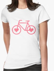 Pink Bicycle Love - Fixie Hearts Womens Fitted T-Shirt