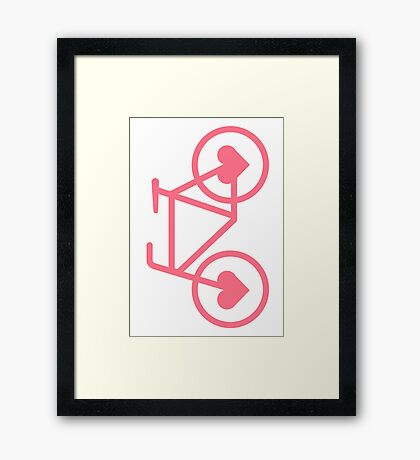Pink Bicycle Love - Fixie Hearts Framed Print