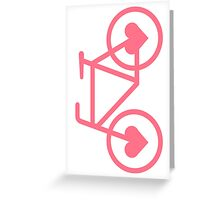 Pink Bicycle Love - Fixie Hearts Greeting Card