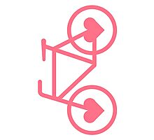 Pink Bicycle Love - Fixie Hearts Photographic Print