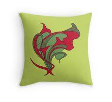 Butterfly swirl, modern art nouveau green red Throw Pillow