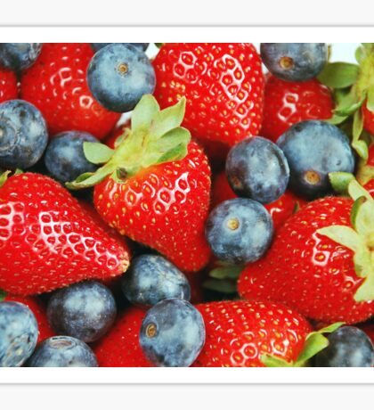 Fresh red strawberries and blueberries Sticker