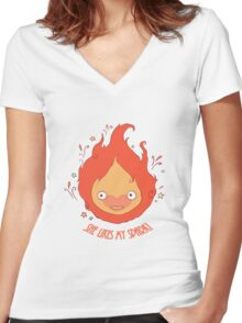 She Likes My Spark! Women's Fitted V-Neck T-Shirt