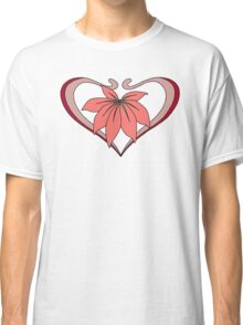 Love, heart with flower, pink red Classic T-Shirt