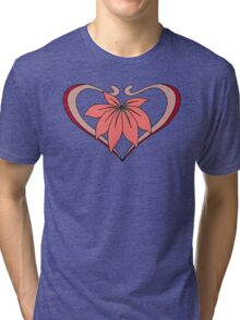 Love, heart with flower, pink red Tri-blend T-Shirt