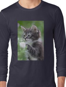 Cute Tabby Kitten Playing With Leaf Long Sleeve T-Shirt