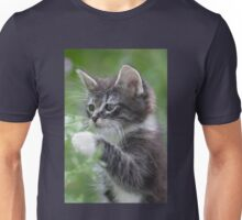 Cute Tabby Kitten Playing With Leaf Unisex T-Shirt