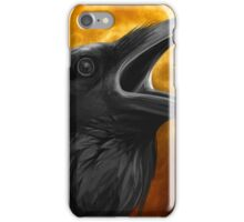 Raven with orange full moon iPhone Case/Skin