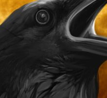Raven with orange full moon Sticker