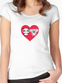 Panda and Koala Love Women's Fitted Scoop T-Shirt