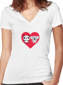 Panda and Koala Love Women's Fitted V-Neck T-Shirt