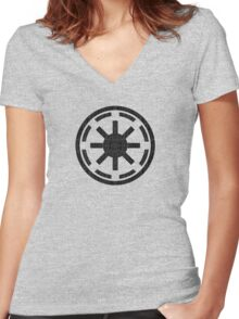 Galactic Republic (distressed) Women's Fitted V-Neck T-Shirt