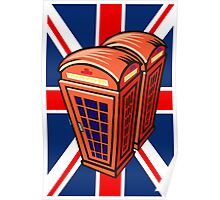 UK flag and english phone box Poster