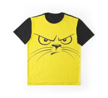 Angry Yellow Kitty Face Graphic T-Shirt