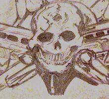 Skulls and guns  Sticker