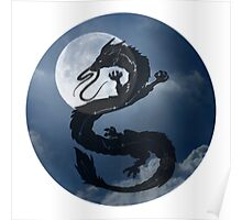 Dragon Haku Spirited Away night sky Poster
