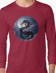 Dragon Haku Spirited Away night sky Long Sleeve T-Shirt