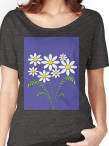 White flowers on blue Women's Relaxed Fit T-Shirt