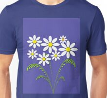White flowers on blue Unisex T-Shirt