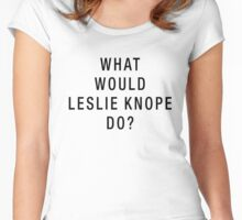 What Would Leslie Knope Do? (Black on White) Women's Fitted Scoop T-Shirt