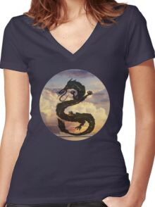 Dragon Haku Spirited Away clouds Women's Fitted V-Neck T-Shirt