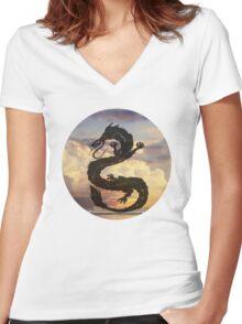 Dragon Haku Spirited Away clouds Women's Fitted V-Neck T-Shirt