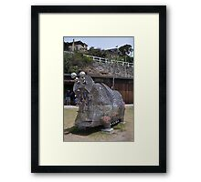 20151031 Sculptures By Sea - Big Pig Yawning  Framed Print