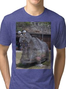 20151031 Sculptures By Sea - Big Pig Yawning  Tri-blend T-Shirt