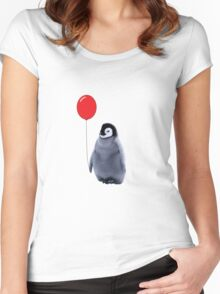 baby penguin with a balloon Women's Fitted Scoop T-Shirt