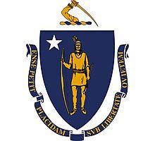 White Blue and Gold Flag of Massachusetts Photographic Print