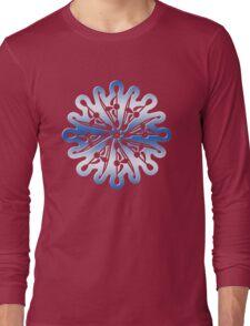 Spiral Kayak Blue Digital Art Long Sleeve T-Shirt