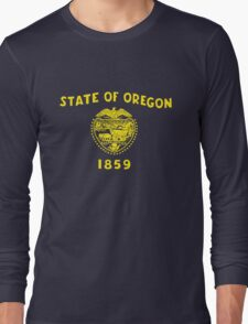 Blue and Gold Flag of Oregon with Shield Long Sleeve T-Shirt