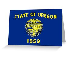 Blue and Gold Flag of Oregon with Shield Greeting Card