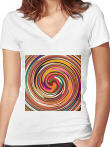 Abstract Colored Twist Art Background Women's Fitted V-Neck T-Shirt