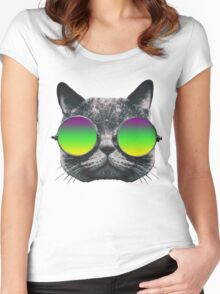 Mardi Gras Cat Women's Fitted Scoop T-Shirt