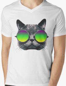 Mardi Gras Cat Mens V-Neck T-Shirt