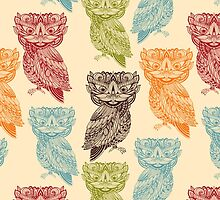 Cute Colorful Tribal Aztec Owl Pattern by sale