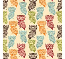 Cute Colorful Tribal Aztec Owl Pattern Photographic Print