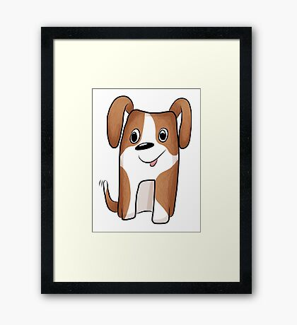 White-brown Puppy Framed Print