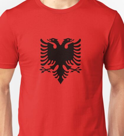 Red and Black Double Headed Eagle Flag of Albania Unisex T-Shirt
