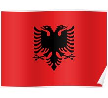Red and Black Double Headed Eagle Flag of Albania Poster