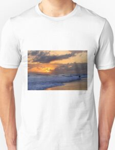 Surfer at Sunset on Kauai Beach With Niihau on Horizon Unisex T-Shirt