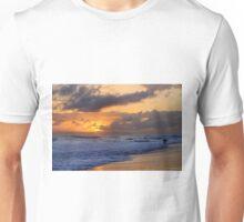Surfer at Sunset on Kauai Beach With Niihau on Horizon Unisex T-Shirt